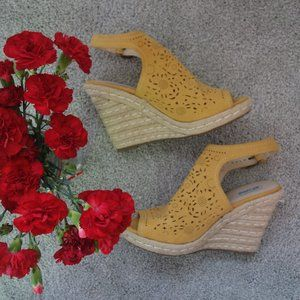 Not Rated Gold Yellow Suede Cut Out Wedge Sandals